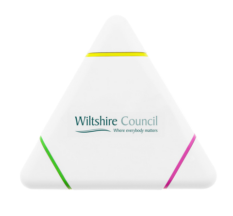 Promotional Triangle Highlighters, printed triangular highlighters, brandable highlighters