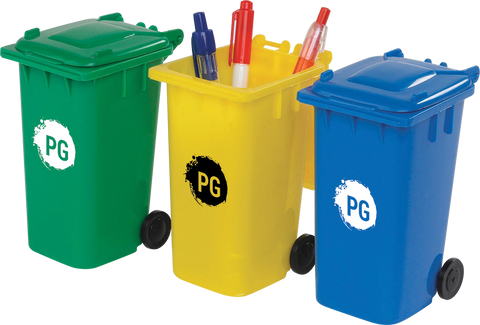 - Wheelie Bin Pen Pots - Unprinted sample  - PG Promotional Items