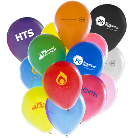 printed balloons, promotional balloons, tradeshow balloons printed with logo, logo balloons
