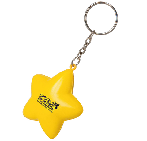 promotional stress star key rings, printed stress star keyrings, promotional stress keyrings