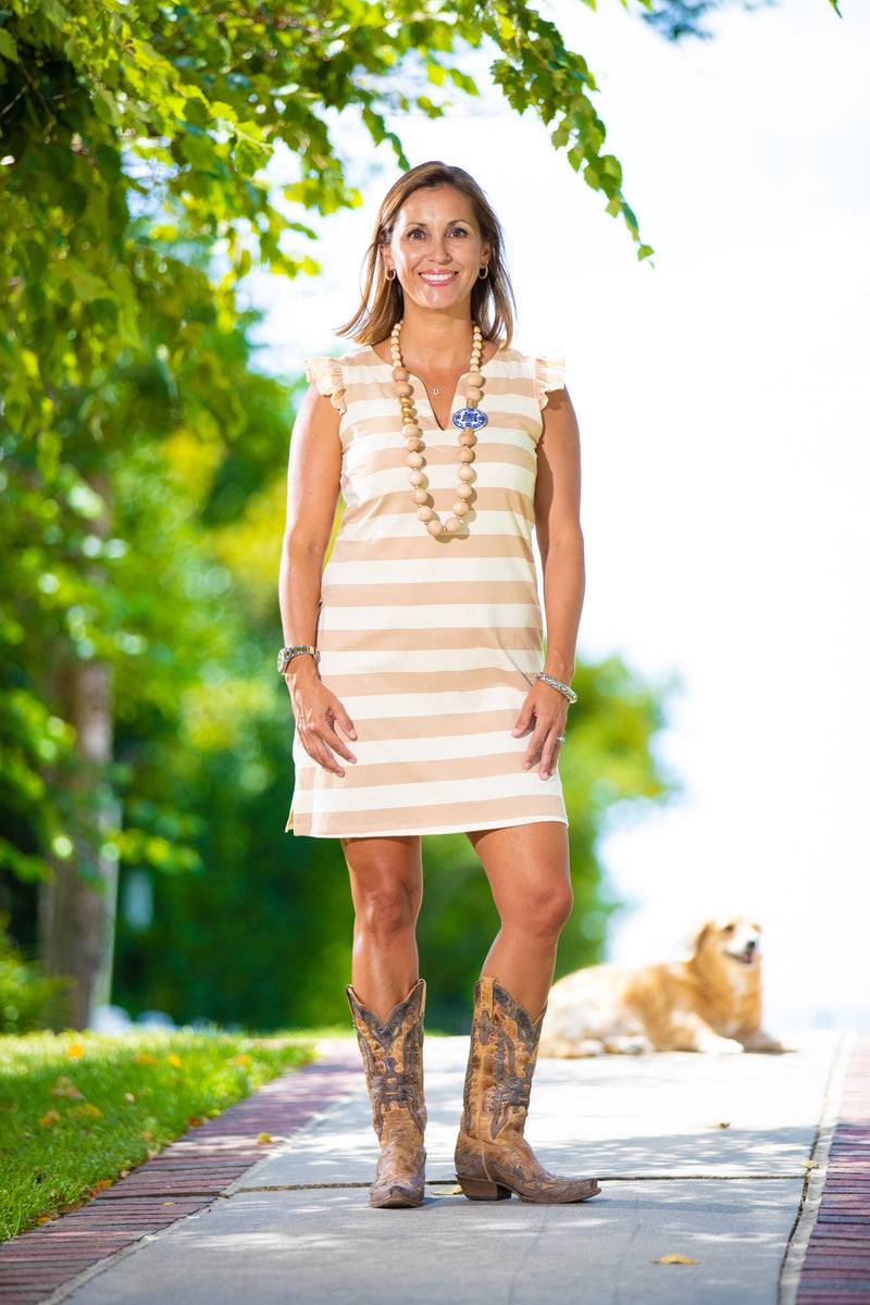 Rugby Stripe Dress in Camel