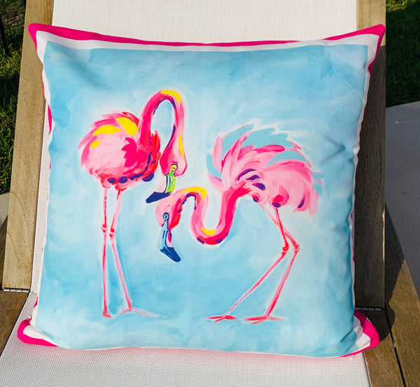 Throw Pillow Flamingo Pink Stripe COVER ONLY