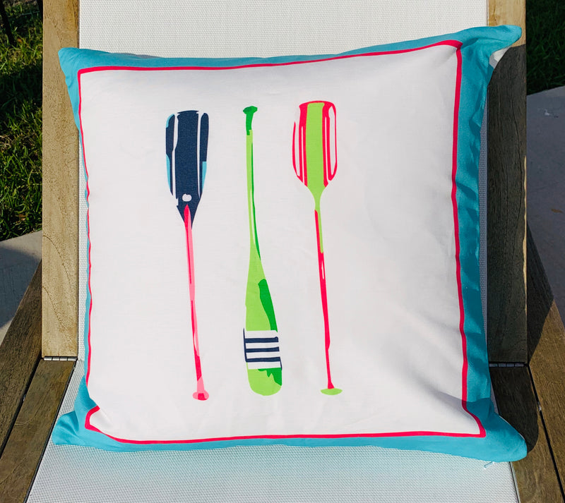 Throw Pillow Paddles Aqua Stripe COVER ONLY