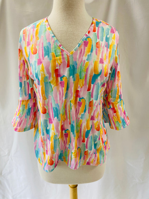 Kristy Top in Abstract Brushstroke