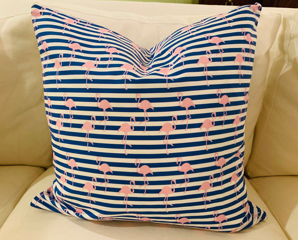 Throw Pillow-Striped Flamingo COVER ONLY