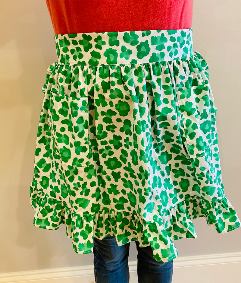 Cocktail Apron-Kelly Green Leopard
