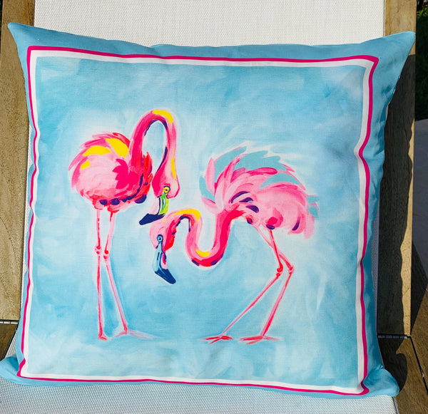 Throw Pillow Flamingo Aqua Stripe COVER ONLY