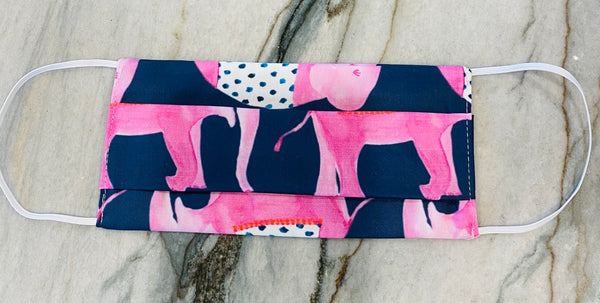 Pleated Adult Face Mask-Navy & Pink Elephants