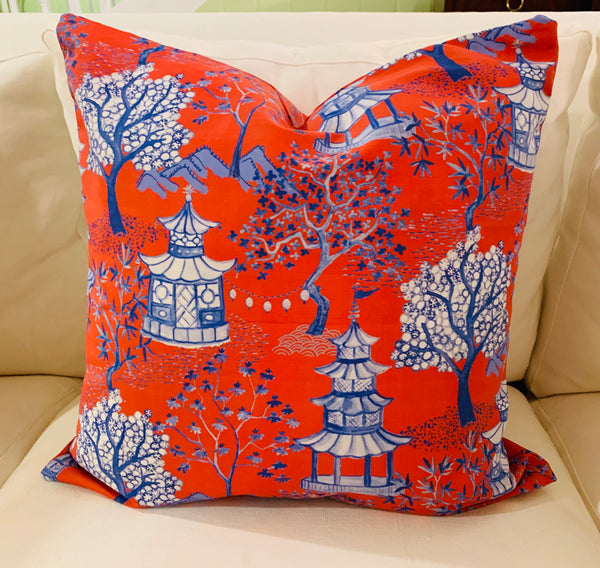 Throw Pillow-Pagoda in Dark Orange