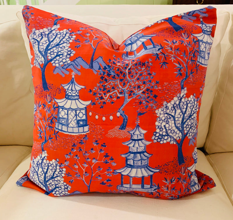 Throw Pillow-Pagoda in Dark Orange COVER ONLY