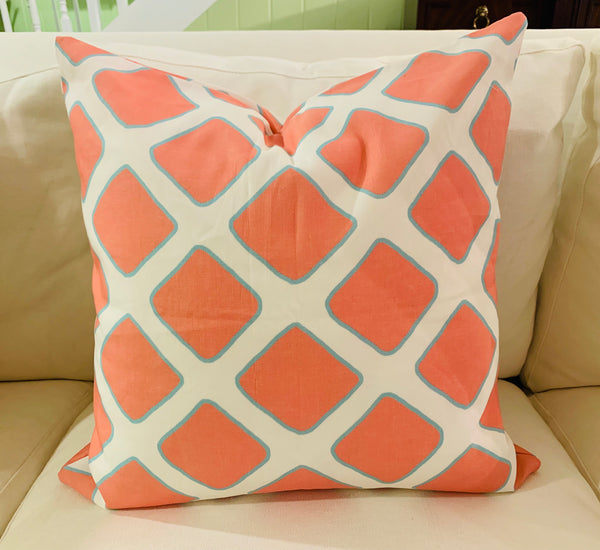 Throw Pillow-Coral Lattice COVER ONLY