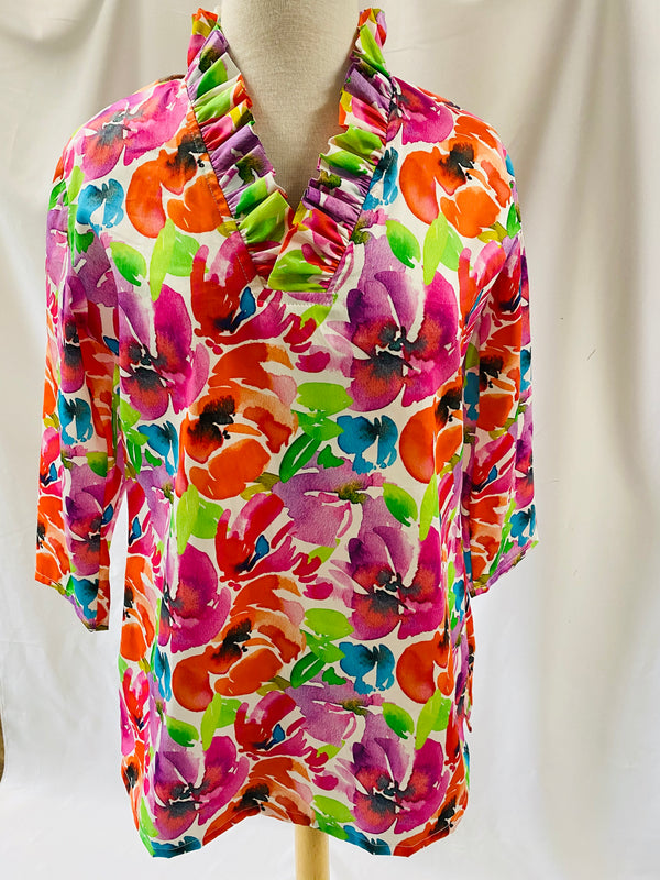 Parker Tunic-Watercolor Flowers