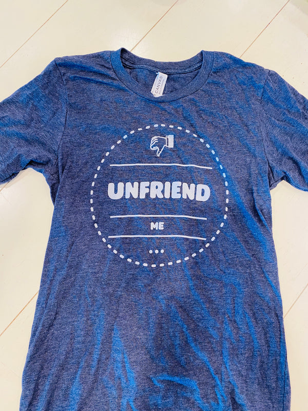 """Unfriend Me"" tee shirt-navy"