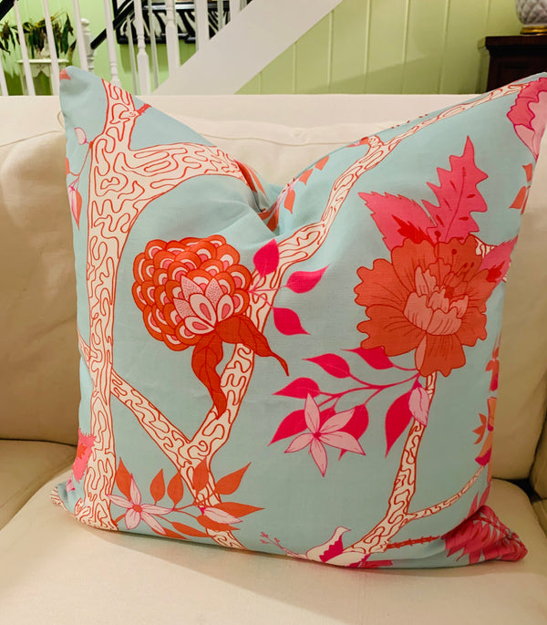 Throw Pillow-Aqua Branches