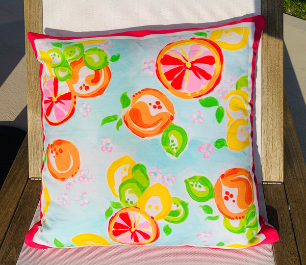 Throw Pillow Citrus Pink Stripe