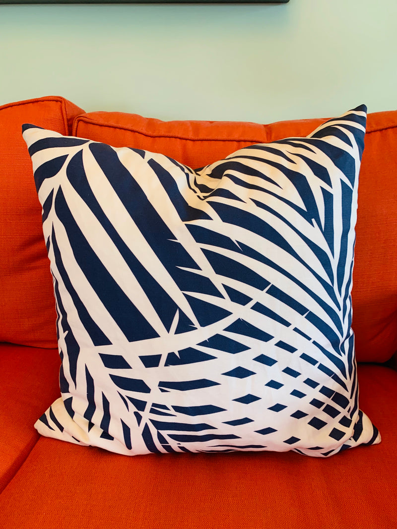 Throw Pillow-Navy Palm COVER ONLY
