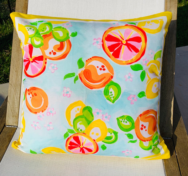 Throw Pillow Citrus Yellow Stripe COVER ONLY