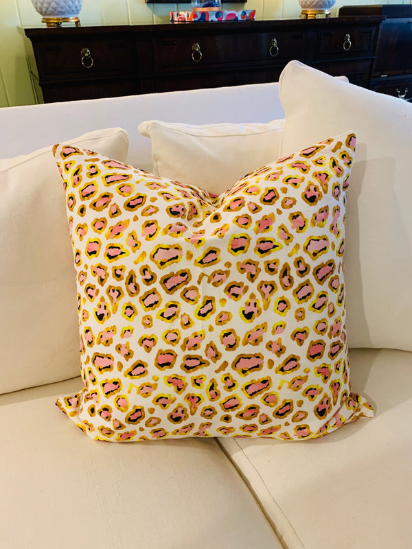 Throw Pillow-Navy, Pink, Gold Cheetah COVER ONLY