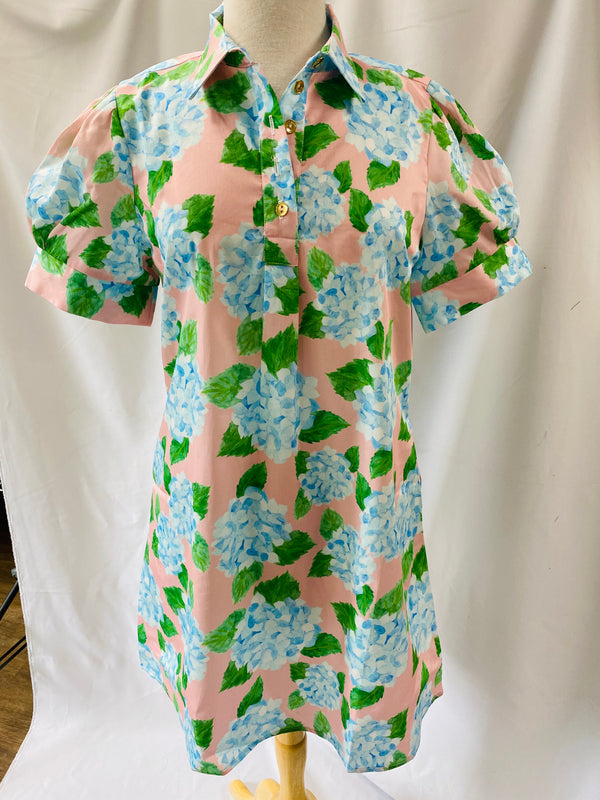 Short Sleeve Popover Dress in Hydrangea