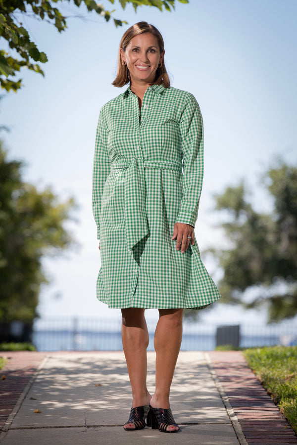 Fit & Flare Shirtdress in Green Gingham