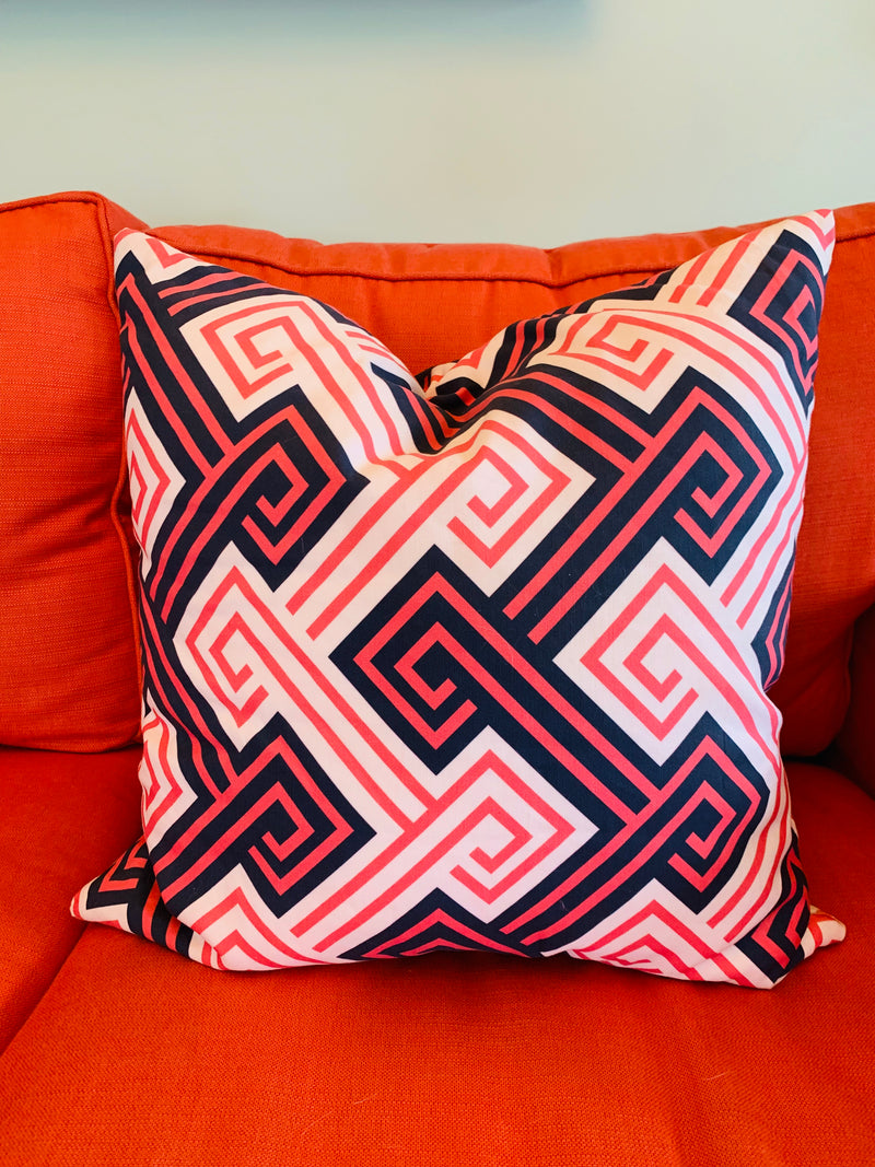 Throw Pillow-Navy &Coral Greek Key COVER ONLY