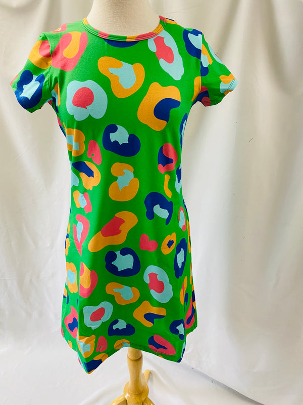 Tee Shirt Dress-Kelly Green Cheetah