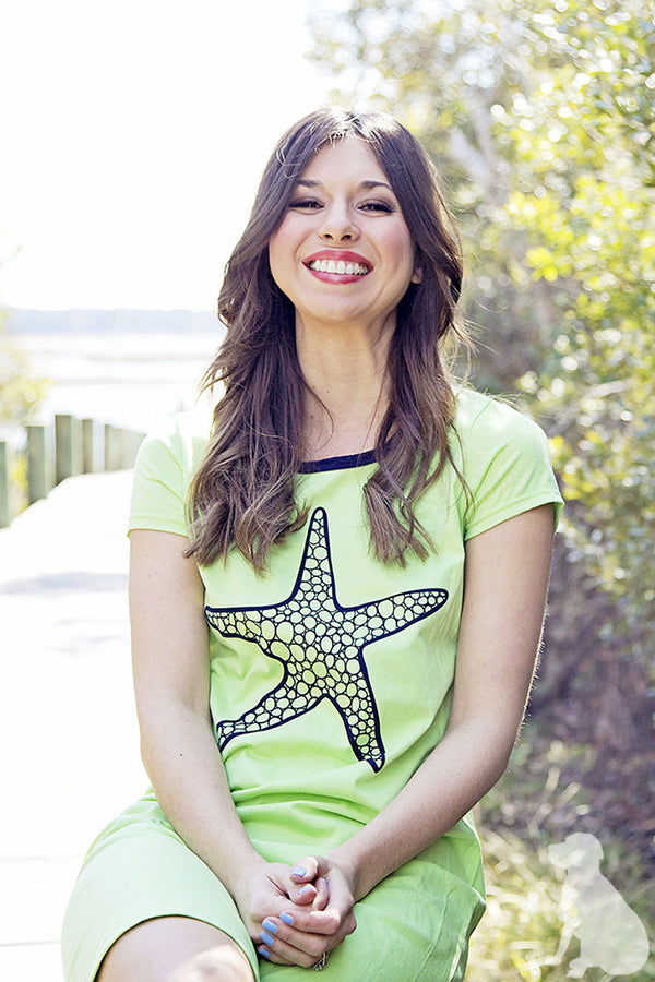 Amelia Dress - Starfish in Lime Green