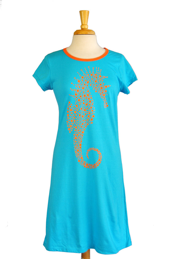 Amelia Dress - Seahorse in Turquoise
