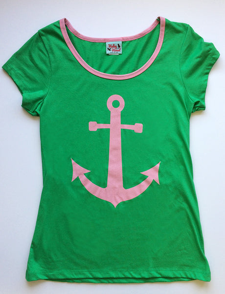 Amelia Tee in Grass Green Anchor