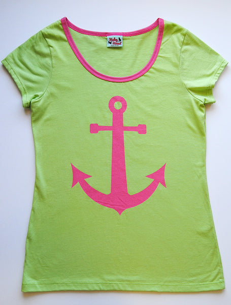 Amelia Tee in Lime Green Anchor