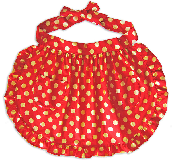 Ruffle Apron in Red and Gold Dots