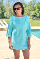 Terry Boatneck Cover Up in Aqua