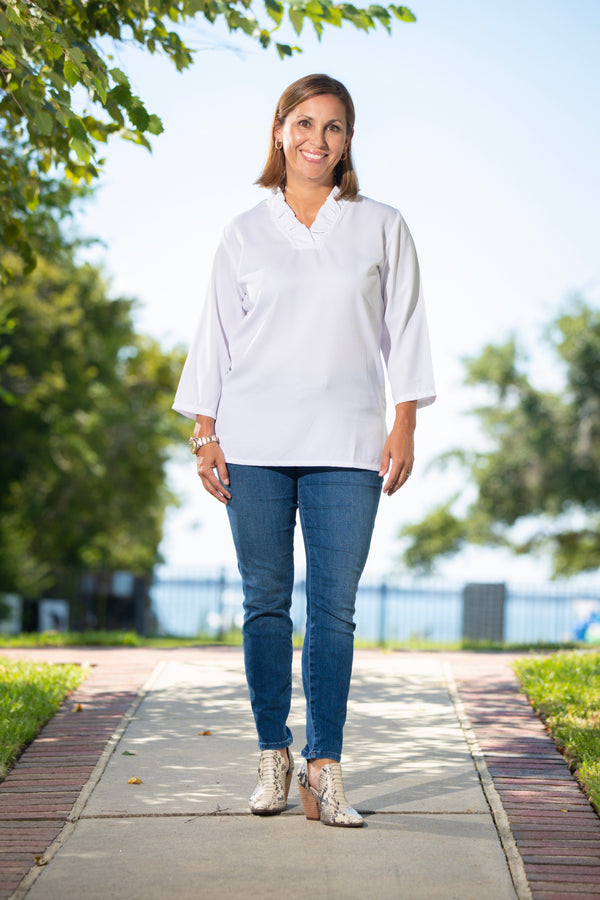 Parker Tunic in White Crepe