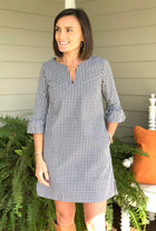 Bell Sleeve Dress in Black Gingham