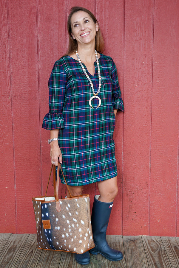 Bell Sleeve Dress in Flannel Plaid