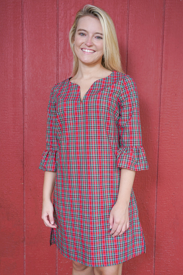 Bell Sleeve Dress in Holiday Tartan