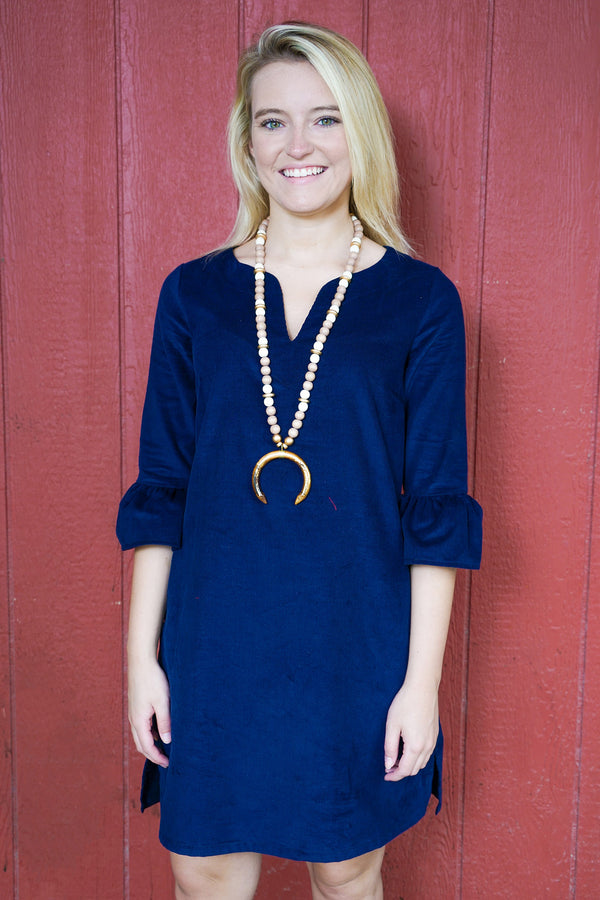 Bell Sleeve Dress in Navy Corduroy