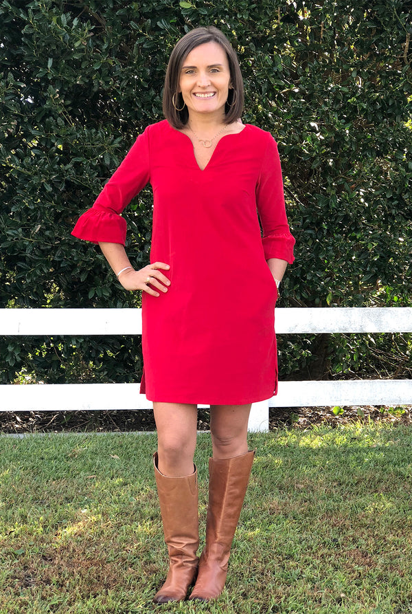 Bell Sleeve Dress in Red Corduroy