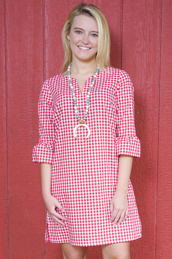 Bell Sleeve Dress in Red Gingham