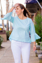 Gingham Bell Sleeve Hi Lo Top in Mint Green