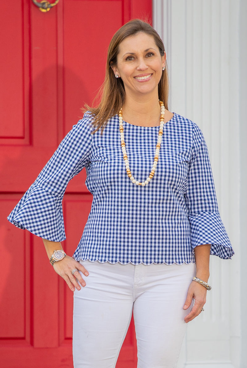 Gingham Bell Sleeve Hi Lo Top in Navy
