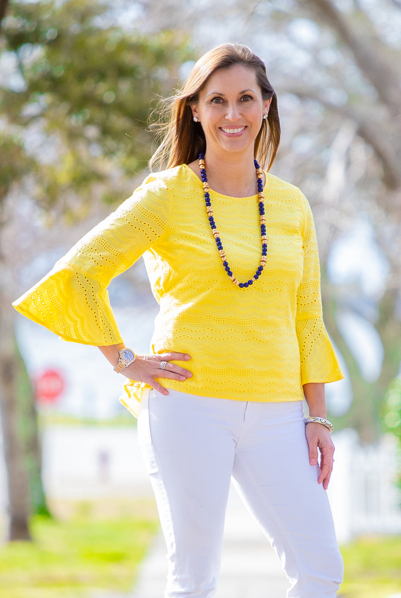 Eyelet Bell Sleeve Hi Lo Top in Yellow