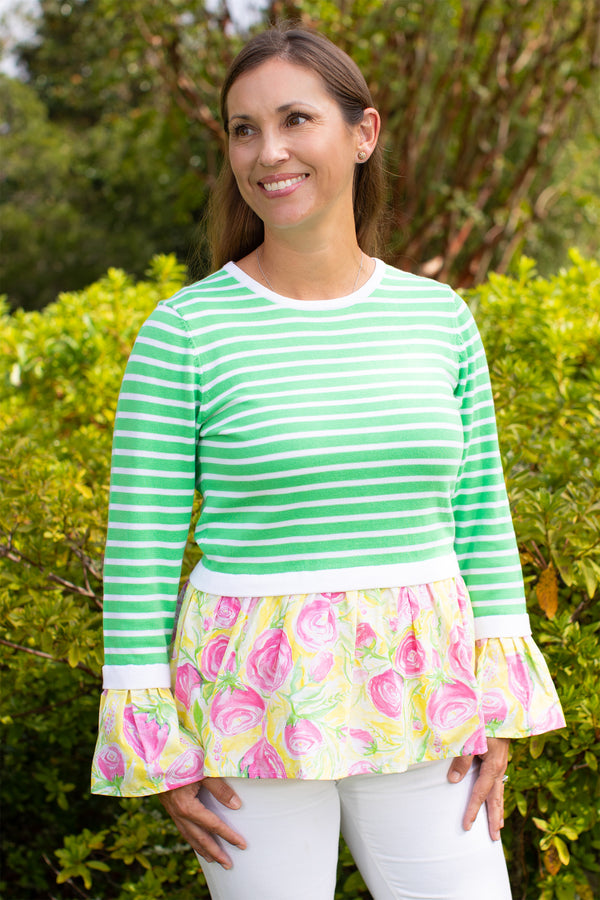 Bell Sleeve Peplum Sweater in Green Stripes with Derby Print