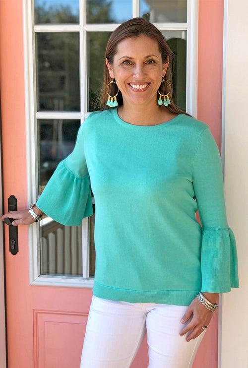 Bell Sleeve Sweater in Aqua