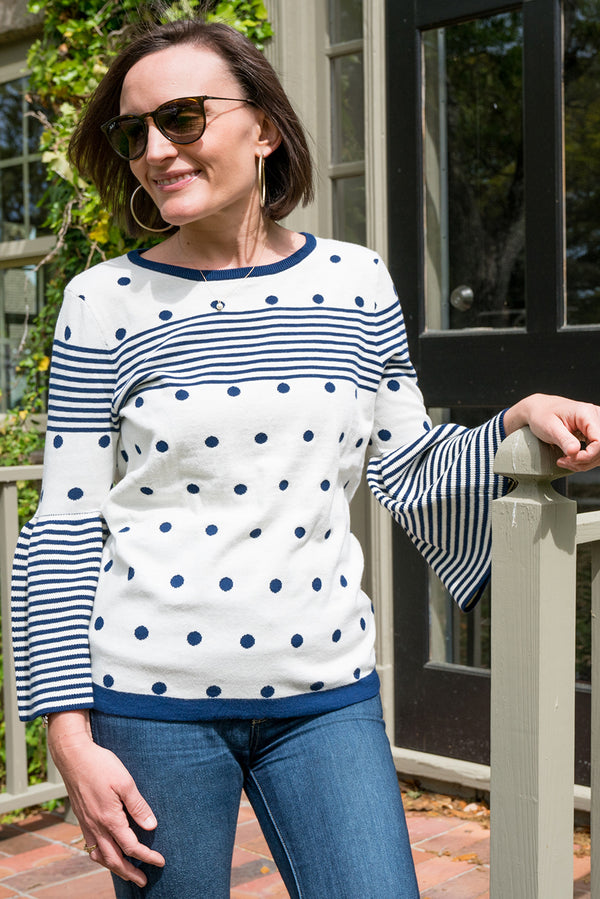 Bell Sleeve Sweater in Navy Stripes & Dots on Ivory