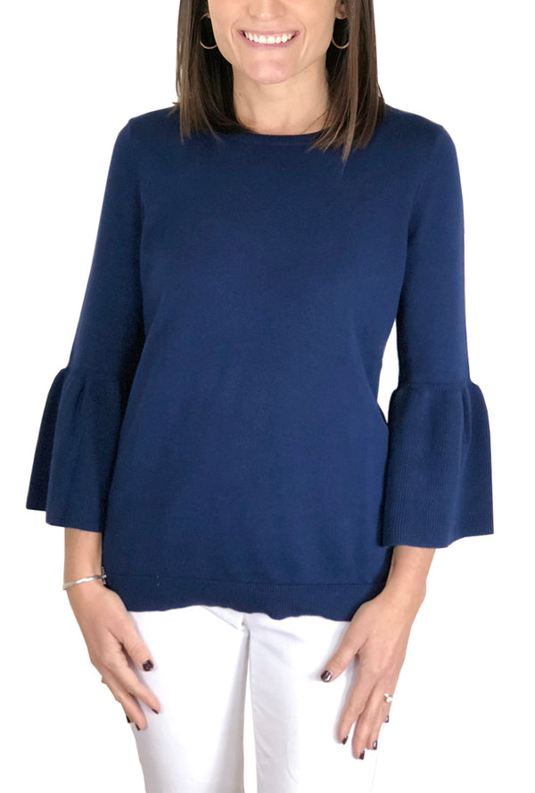 Bell Sleeve Sweater in Navy