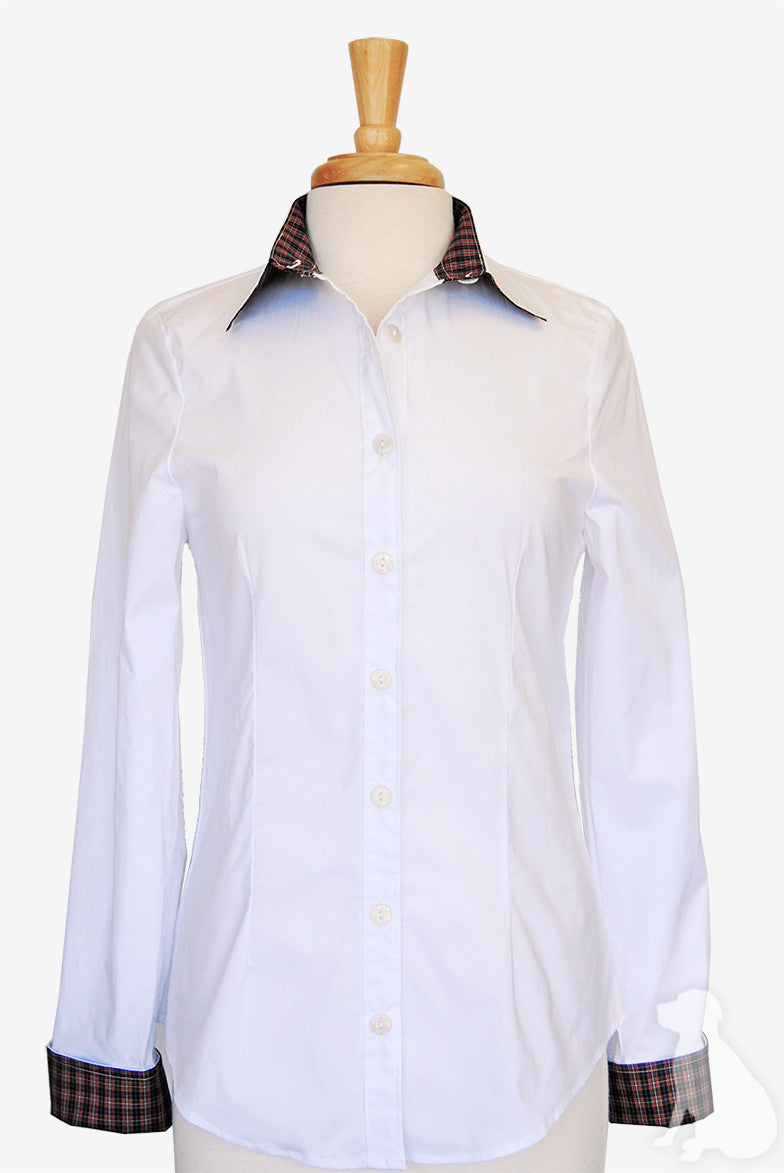 Bella Shirt in White with Black Tartan
