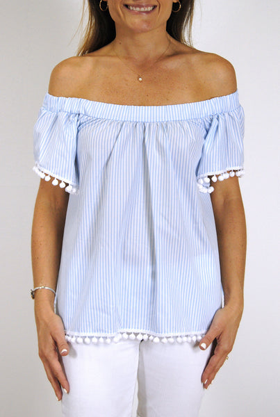 Betty Top in Light Blue Stripes with White Single Poms