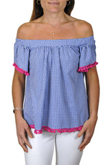Betty Top in Royal Gingham with Hot Pink Poms