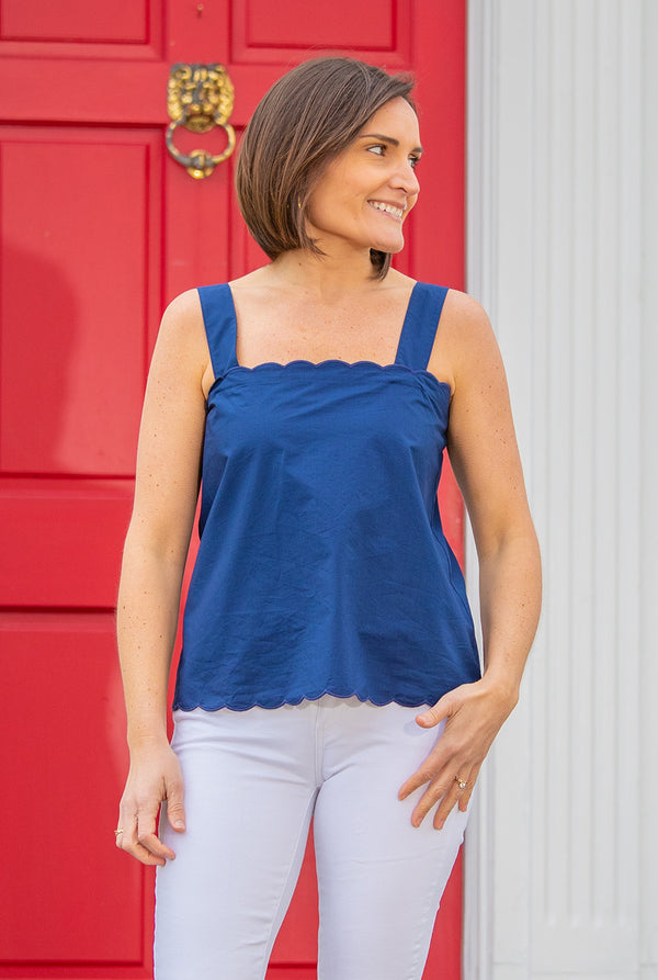 Button Back Tank in Navy Solid